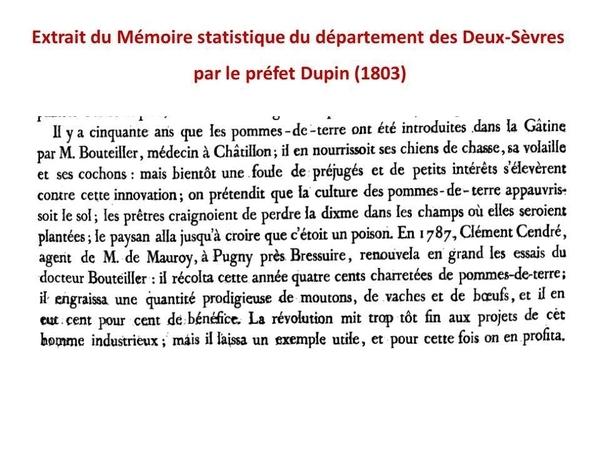 extrait de la p 234 du « Mémoire statistique du Département des Deux-Sèvres »