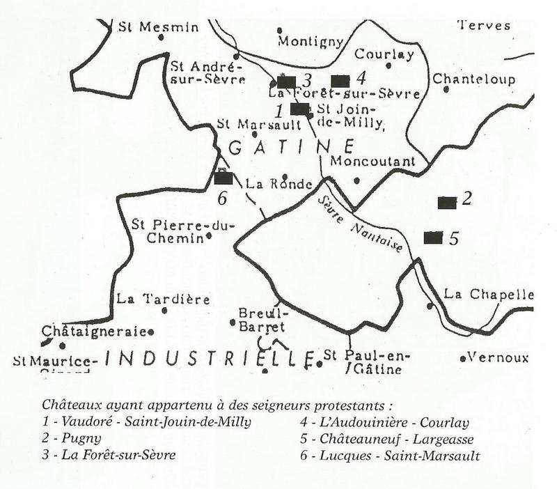 carte des châteaux de seigneurs protestants